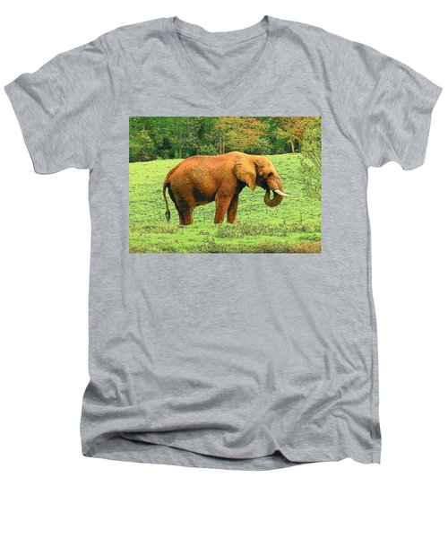 Men's V-Neck T-Shirt featuring the photograph Elephant by Rodney Lee Williams
