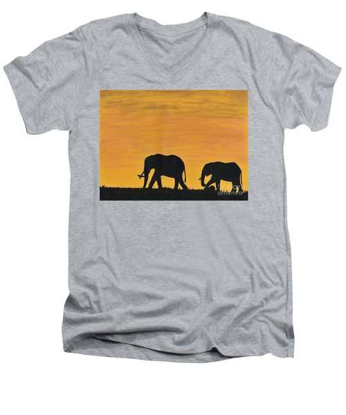 Elephants - At - Sunset Men's V-Neck T-Shirt