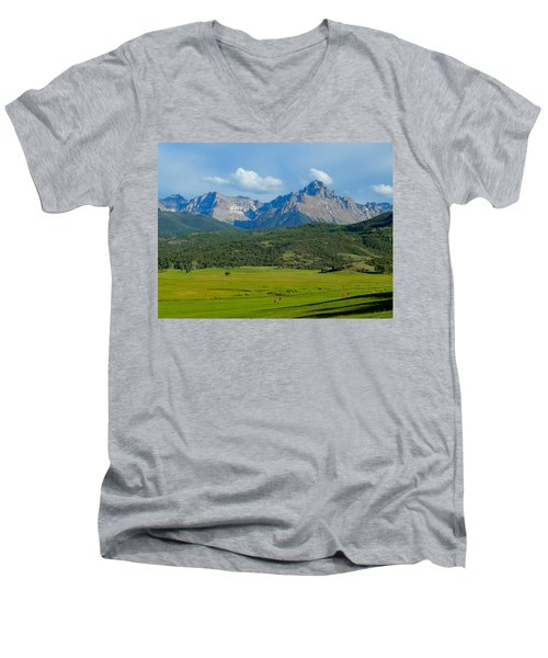 Elk Below Mount Sneffels Men's V-Neck T-Shirt by Dan Miller
