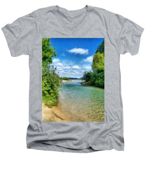 Elk River- Elk Rapids Michigan Men's V-Neck T-Shirt