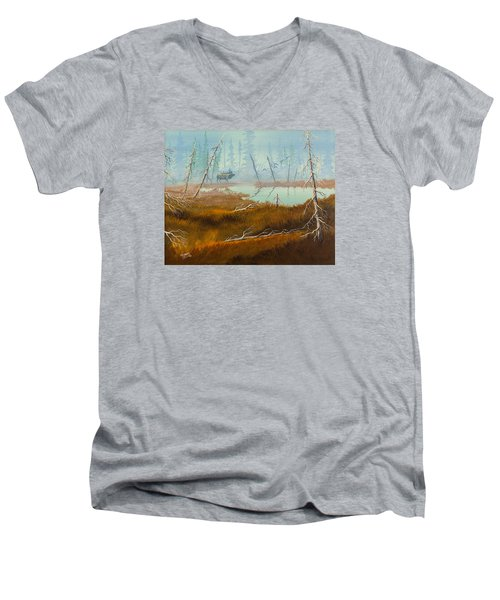 Men's V-Neck T-Shirt featuring the painting Elk Swamp by Richard Faulkner
