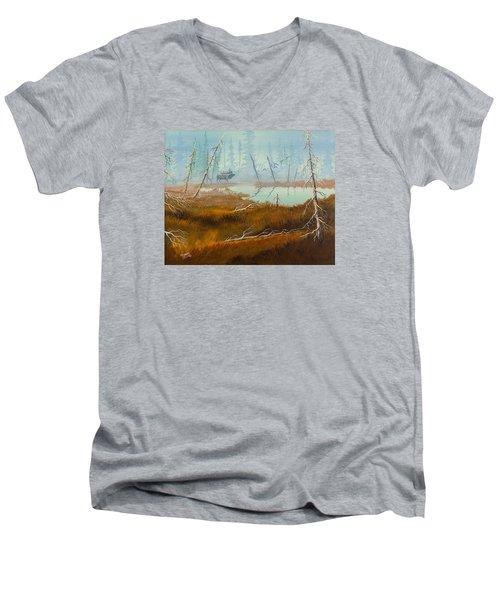 Elk Swamp Men's V-Neck T-Shirt by Richard Faulkner