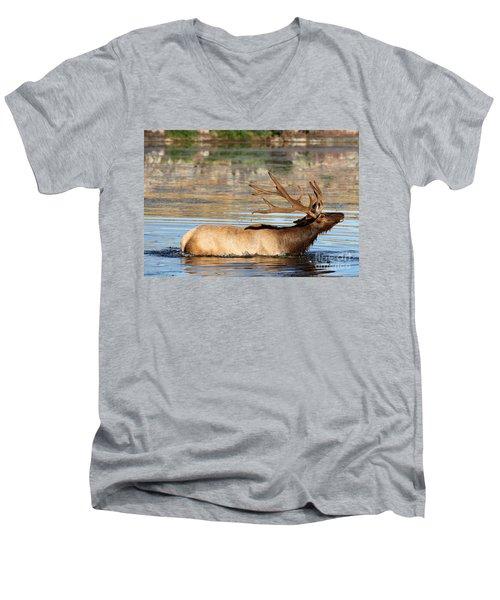 Elk Cooling Down In Lake Men's V-Neck T-Shirt