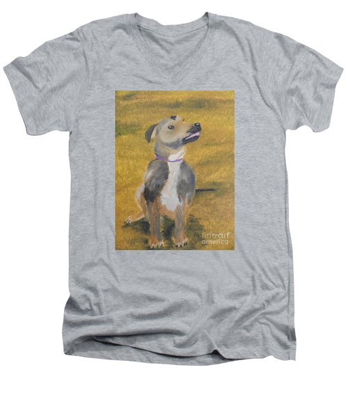 Men's V-Neck T-Shirt featuring the painting Ella by Pamela  Meredith