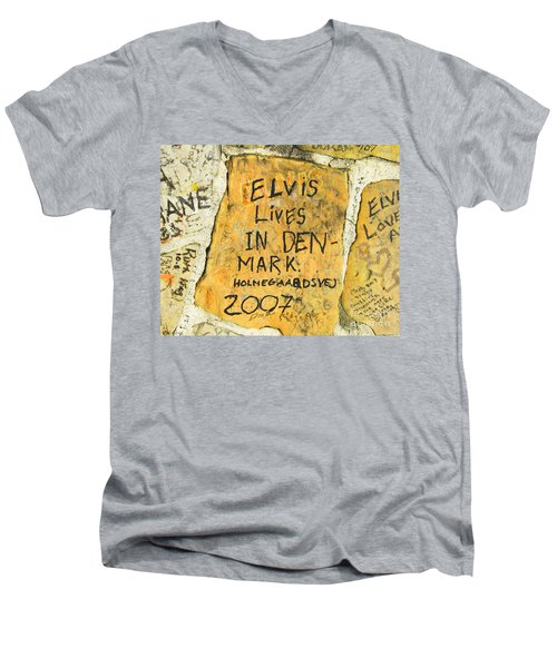 Men's V-Neck T-Shirt featuring the photograph Elvis Lives In Denmark by Lizi Beard-Ward