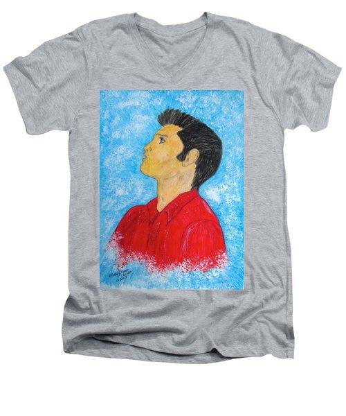 Elvis Presley Singing Men's V-Neck T-Shirt