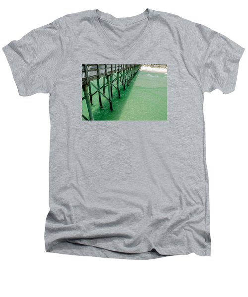Men's V-Neck T-Shirt featuring the photograph Emerald Green Tide  by Susan  McMenamin