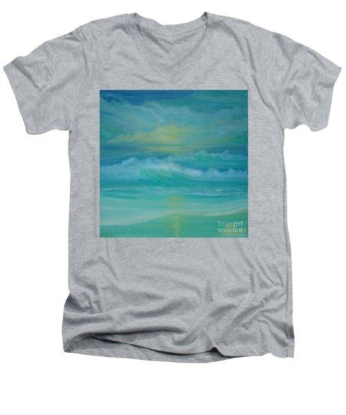 Emerald Waves Men's V-Neck T-Shirt by Holly Martinson