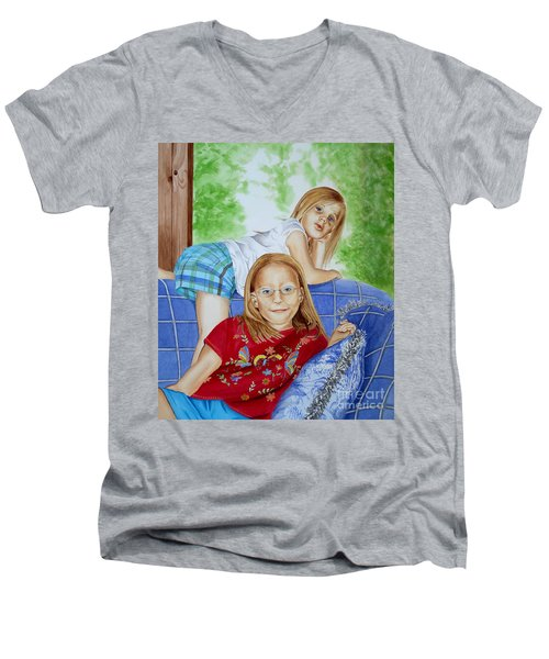 Emi And Mackenzie Men's V-Neck T-Shirt by Debbie Hart