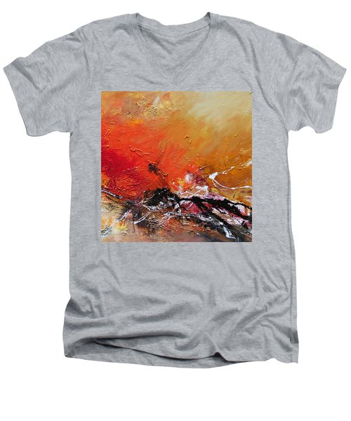Men's V-Neck T-Shirt featuring the painting Emotion 2 by Ismeta Gruenwald