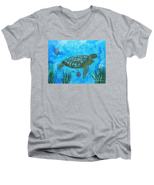 Emotional Healing With The Sea Turtle Men's V-Neck T-Shirt