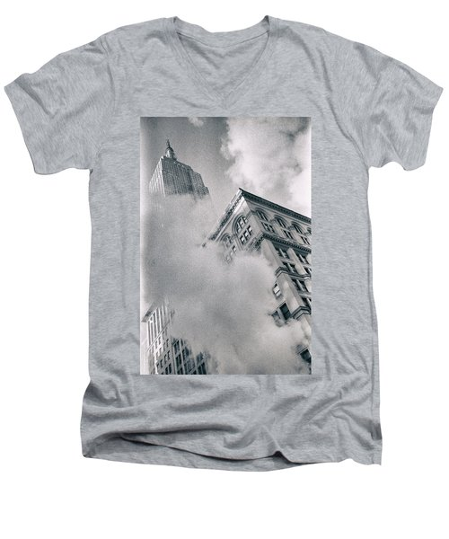 Empire State Building And Steam Men's V-Neck T-Shirt