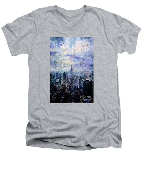 Empire State Building In Blue Men's V-Neck T-Shirt by Ryan Fox