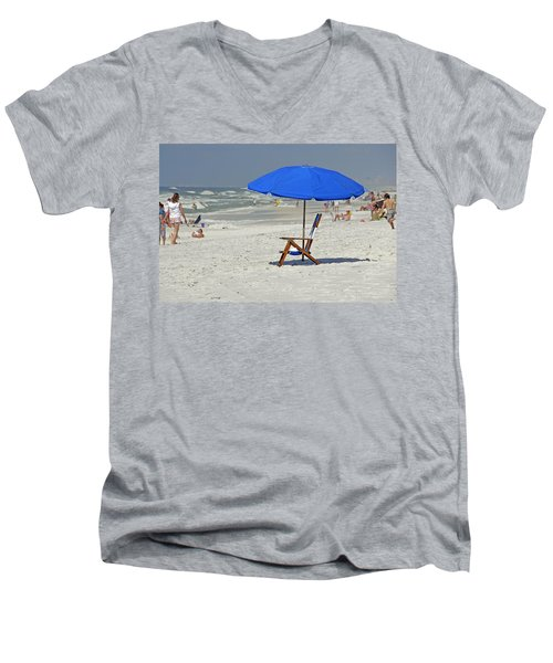 Men's V-Neck T-Shirt featuring the photograph Empty Beach Chair by Charles Beeler