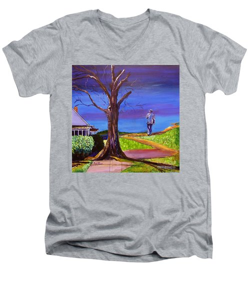 Men's V-Neck T-Shirt featuring the painting End Of Day Highway 98 by Ecinja Art Works