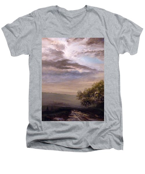 Men's V-Neck T-Shirt featuring the painting Endless Road Eternal Being by Mikhail Savchenko