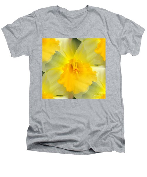 Men's V-Neck T-Shirt featuring the photograph Endless Yellow Daffodil by Judy Palkimas
