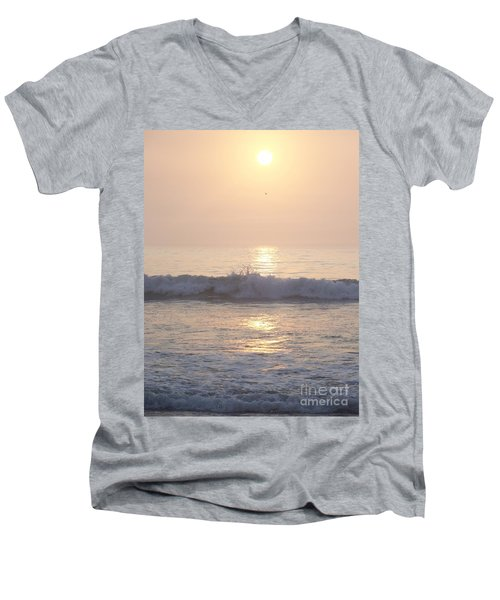 Men's V-Neck T-Shirt featuring the photograph Hampton Beach Wave Ends With A Splash by Eunice Miller
