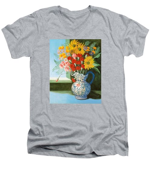 English Bouquet Men's V-Neck T-Shirt