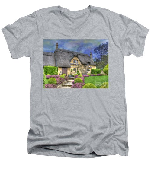 English Country Cottage Men's V-Neck T-Shirt by Juli Scalzi
