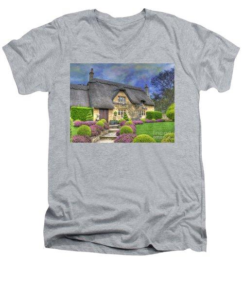 English Country Cottage Men's V-Neck T-Shirt by Juli Scalzi