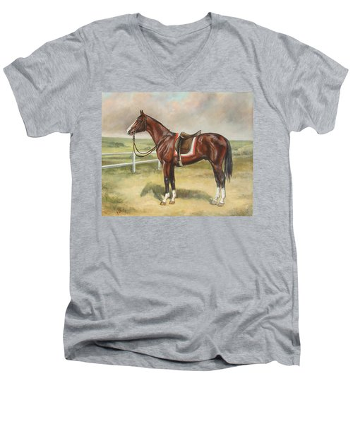 English Stallion Dark Bay Men's V-Neck T-Shirt