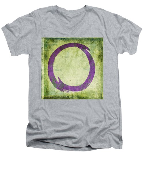 Enso No. 108 Purple On Green Men's V-Neck T-Shirt