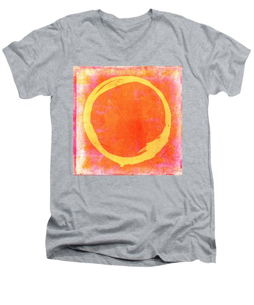 Enso No. 109 Yellow On Pink And Orange Men's V-Neck T-Shirt