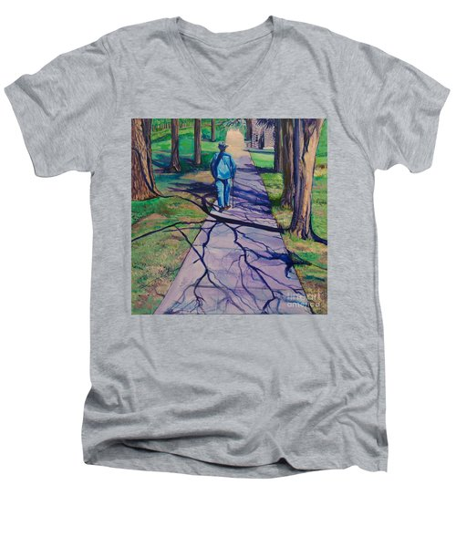 Men's V-Neck T-Shirt featuring the painting Entanglement On Highway 98' by Ecinja Art Works