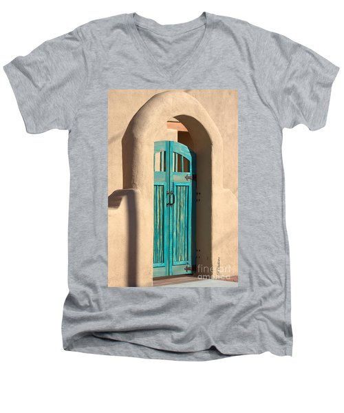Men's V-Neck T-Shirt featuring the photograph Enter Turquoise by Barbara Chichester