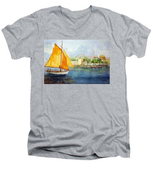 Entering The Port - Foca Izmir Men's V-Neck T-Shirt