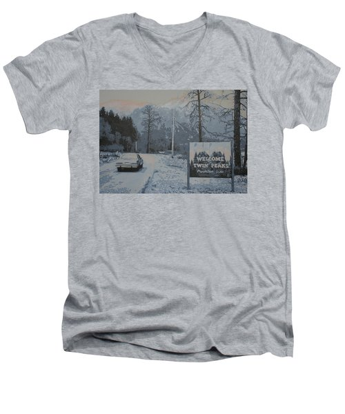 Men's V-Neck T-Shirt featuring the painting Entering The Town Of Twin Peaks 5 Miles South Of The Canadian Border by Luis Ludzska