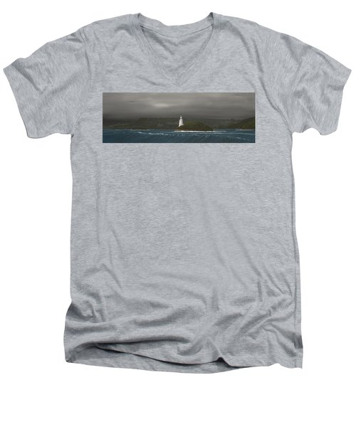 Men's V-Neck T-Shirt featuring the painting Entrance To Macquarie Harbour - Tasmania by Tim Mullaney