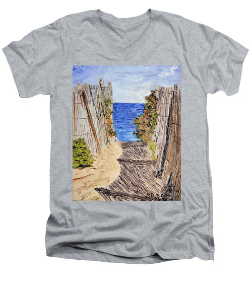 Men's V-Neck T-Shirt featuring the painting Entrance To Summer by Michael Daniels