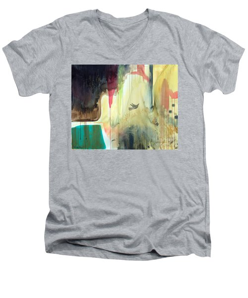 Men's V-Neck T-Shirt featuring the painting Envisage by Robin Maria Pedrero