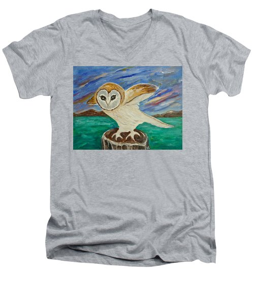 Equinox Owl Men's V-Neck T-Shirt by Victoria Lakes