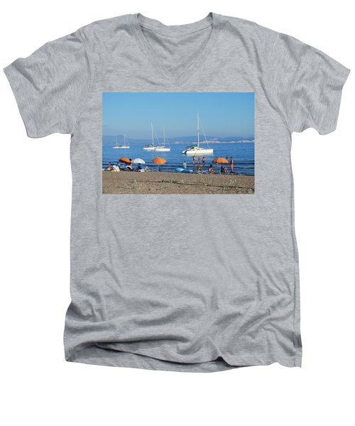 Erikousa Beach One Men's V-Neck T-Shirt