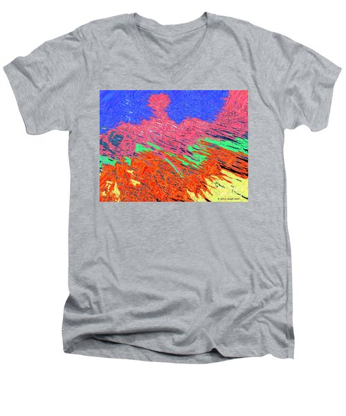 Erupting Lava Meets The Sea Men's V-Neck T-Shirt by Joseph Baril