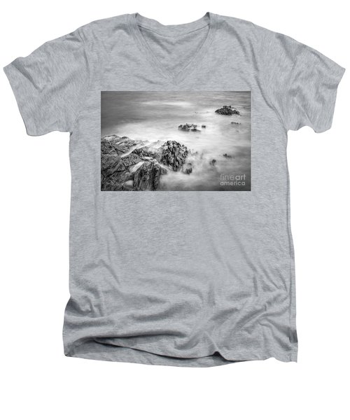 Men's V-Neck T-Shirt featuring the photograph Estacas Beach Galicia Spain by Pablo Avanzini