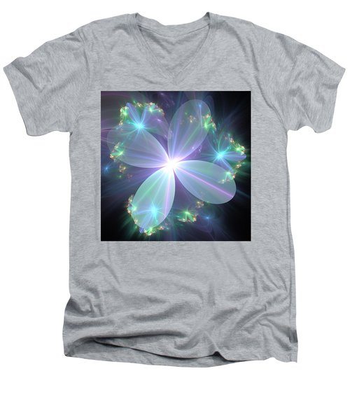 Ethereal Flower In Blue Men's V-Neck T-Shirt by Svetlana Nikolova