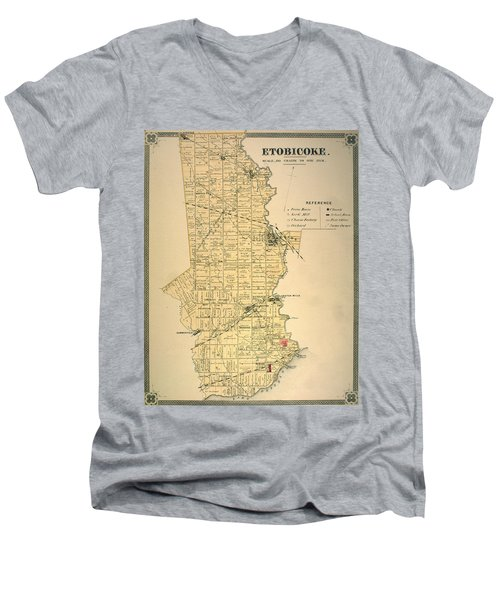 Etobicoke Map 1878 Men's V-Neck T-Shirt