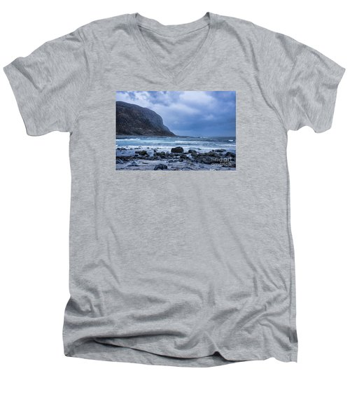 Evening At The Seaside In Rain Men's V-Neck T-Shirt