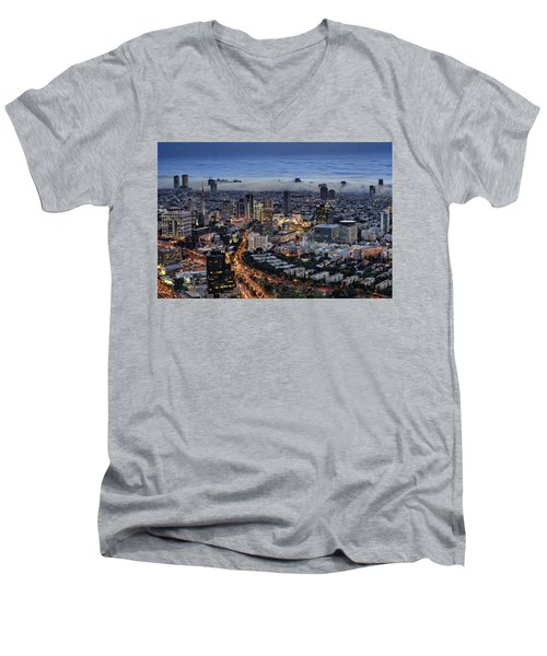 Men's V-Neck T-Shirt featuring the photograph Evening City Lights by Ron Shoshani