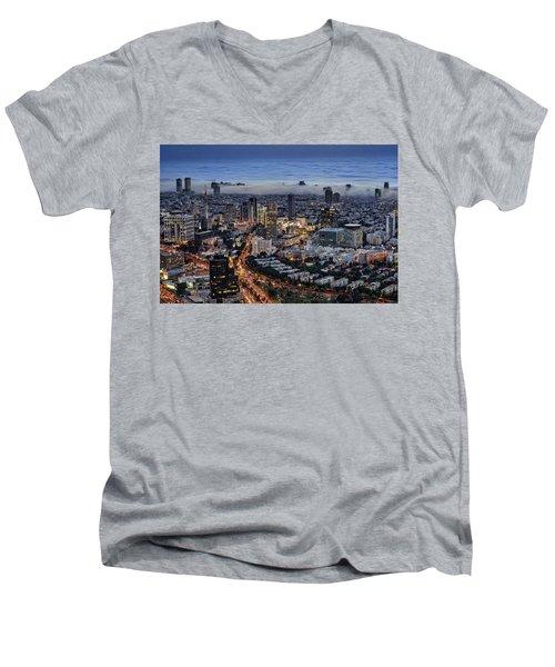 Evening City Lights Men's V-Neck T-Shirt
