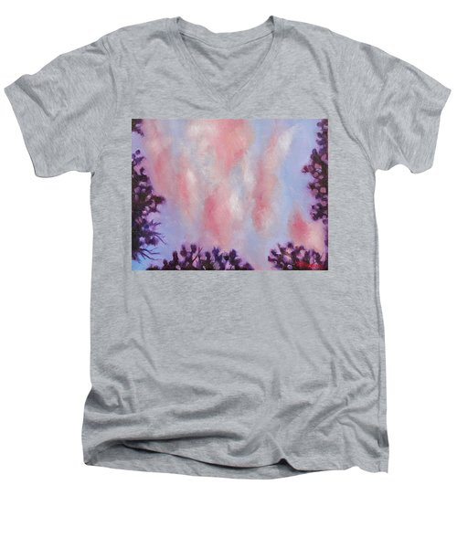 Men's V-Neck T-Shirt featuring the painting Evening Clouds by Jason Williamson