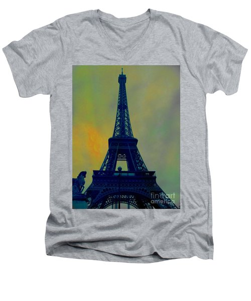 Evening Eiffel Tower Men's V-Neck T-Shirt