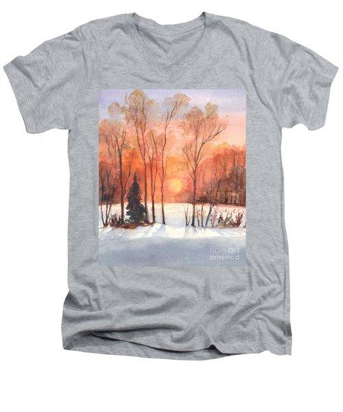 The Evening Glow Men's V-Neck T-Shirt by Carol Wisniewski