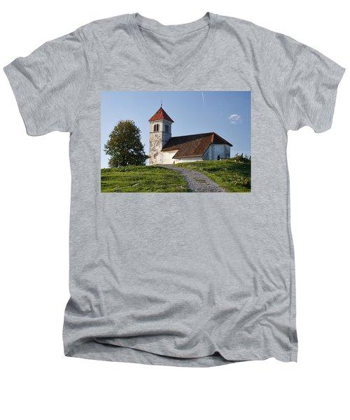 Evening Glow Over Church Men's V-Neck T-Shirt