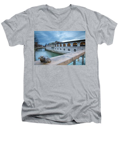 Evening In Ljubljana Men's V-Neck T-Shirt