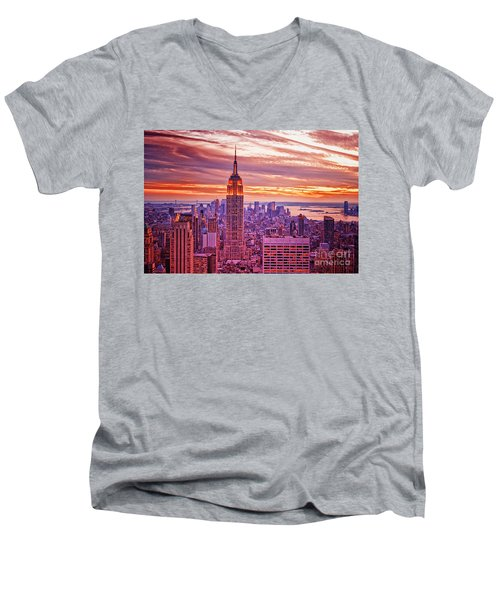 Evening In New York City Men's V-Neck T-Shirt by Sabine Jacobs